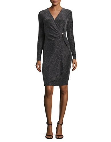 Calvin Klein Metallic Faux Wrap Dress-BLACK-2