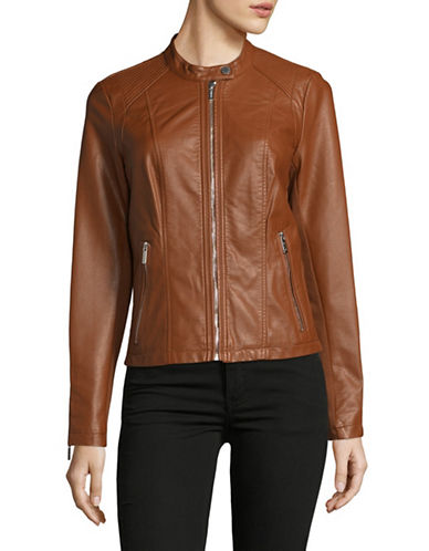 Calvin Klein Zip Faux Leather Jacket-BEIGE-Small