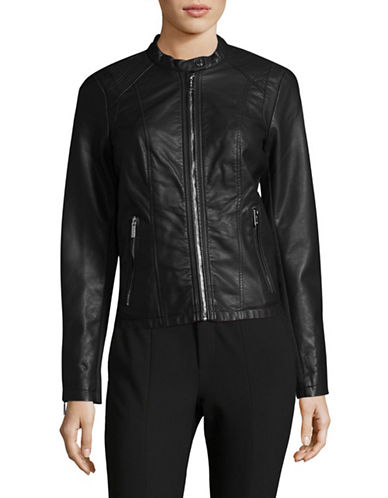 Calvin Klein Zip Faux Leather Jacket-BLACK-Small