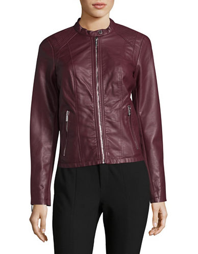 Calvin Klein Zip Faux Leather Jacket-RED-X-Small