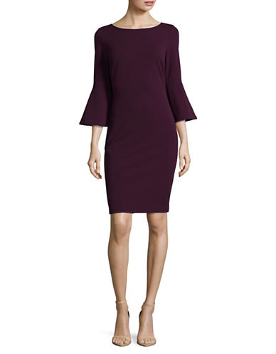 Calvin Klein Trumpet Sleeve Sheath Dress-PURPLE-10