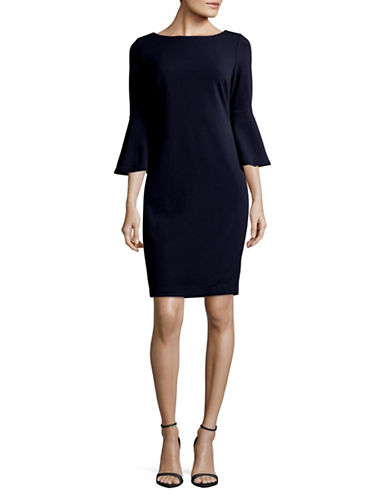 Calvin Klein Trumpet Sleeve Sheath Dress-BLUE-4