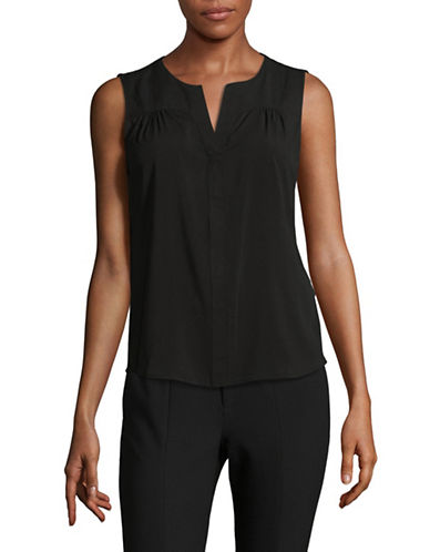 Calvin Klein Split Neck Top-BLACK-Large