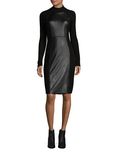 Calvin Klein Faux Leather Mock-Neck Dress-BLACK-Large
