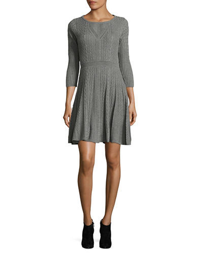Calvin Klein Cable Knit Sweater Dress-GREY-Medium