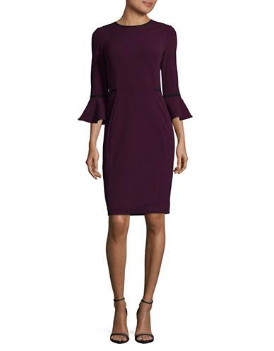 Calvin Klein Piped Bell Sleeve Sheath Dress-AUBERGINE/BLACK-10