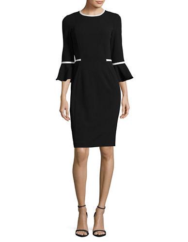 Calvin Klein Piped Bell Sleeve Sheath Dress-BLACK/CREAM-6