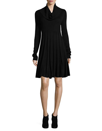 Calvin Klein Cowl-Neck Sweater Dress-BLACK-Small