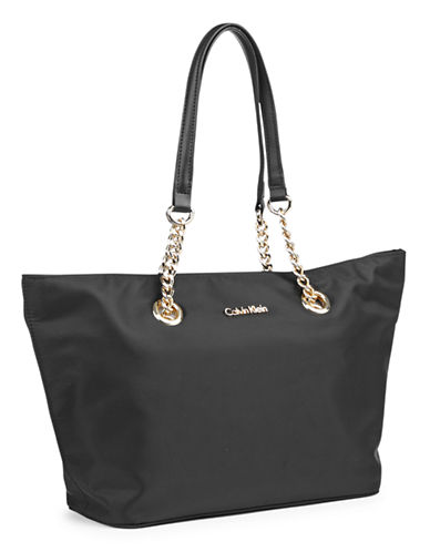 Calvin Klein Small Nylon Tote-BLACK/GOLD-One Size