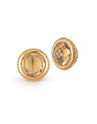 Delatori Champagne Citrine Earrings-GOLD-One Size