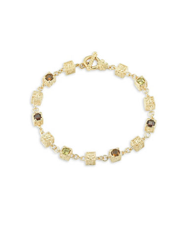 Delatori 18K Yellow Goldplated Citrine Garnet and Sterling Silver Bracelet-MULTI-One Size