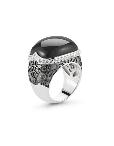 Delatori Sterling Silver Onyx and Crystal Ring-BLACK-7