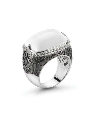 Delatori Sterling Silver Black Spinel and White Agate Ring-WHITE-7