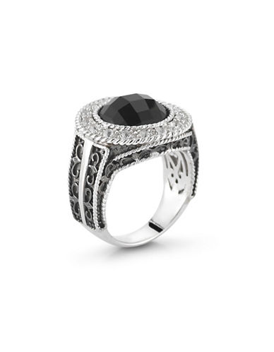 Delatori Sterling Silver Onyx and Crystal-BLACK-7