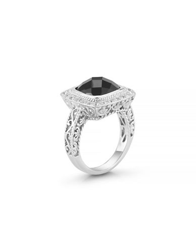 Delatori Black Onyx and Clear Crystal Sterling Silver Ring-ONYX-7