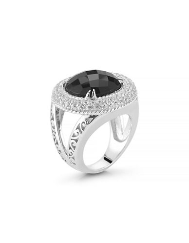 Delatori 0.10 TCW Black Onyx and Clear Crystal Sterling Silver Ring-ONYX-7