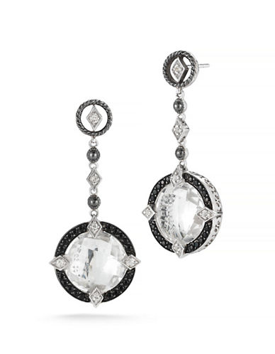 Delatori 20ct Clear Crystal and Black Spinel Earrings-BLACK-One Size