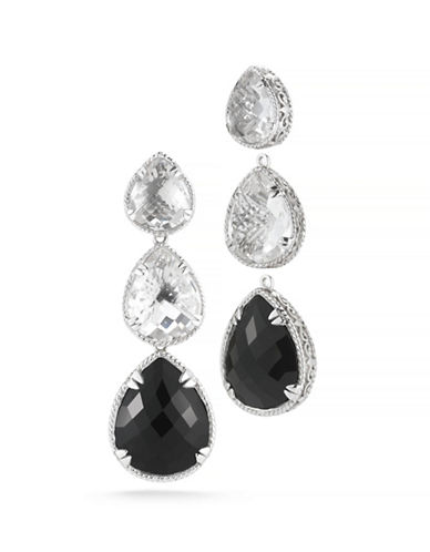 Delatori 42ct Black Onyx and Clear Crystal Earrings-ONYX-One Size