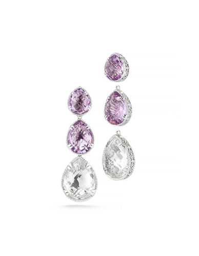 Delatori Crystal and Pink Amethyst Drop Earrings-PINK-One Size
