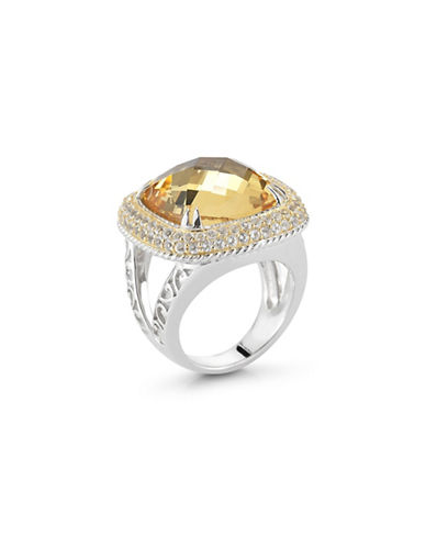 Delatori 13ct Citrine and Clear Crystal Ring-YELLOW-7