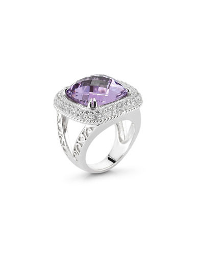 Delatori 0.13 TCW Pink Amethyst and Crystal Sterling Silver Ring-PINK-7