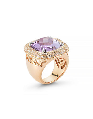 Delatori 15ct Pink Amethyst and Clear Crystal Ring-PINK-7