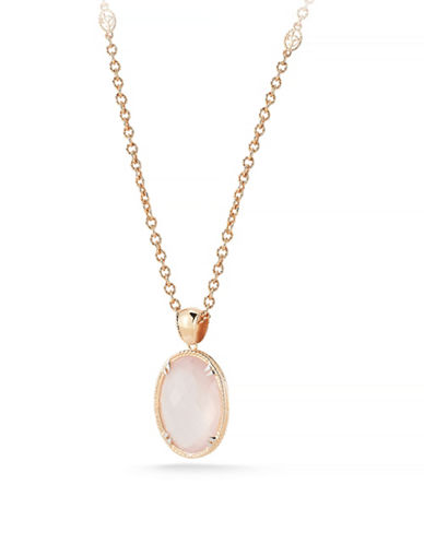 Delatori 25ct Rose Quartz Necklace-PINK-One Size