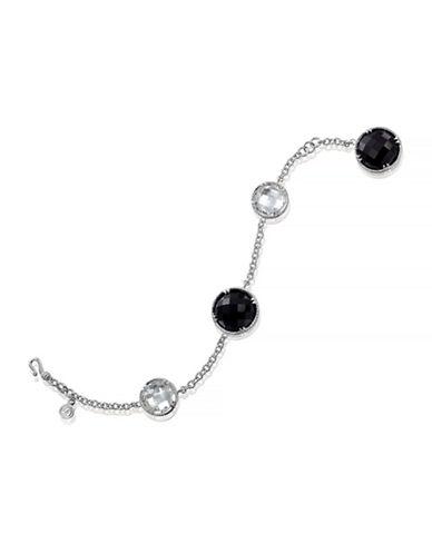 Delatori 31ct Black Onyx and 15ct White Agate Bracelet-ONYX-One Size