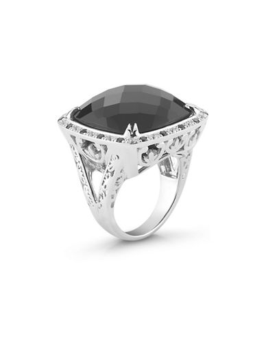 Delatori Sterling Silver and White Topaz Ring-BLACK-7