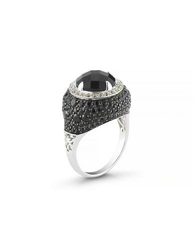 Delatori Black Spinel and White Topaz Ring-BLACK-7