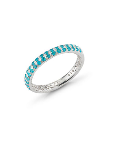 Delatori 18K Yellow Gold Sterling Silver and Appatite Ring-BLUE-7