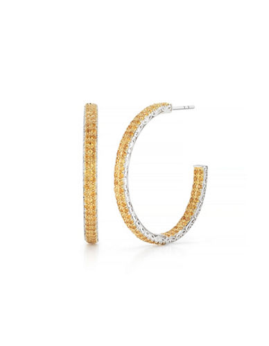 Delatori Citrine Hoop Earrings-YELLOW-One Size