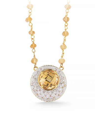 Delatori Citrine and White Topaz Chain Necklace-YELLOW-One Size