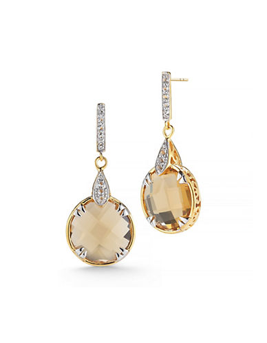 Delatori 18K Goldplated and Sterling Silver Citrine Drop Earrings-YELLOW-One Size