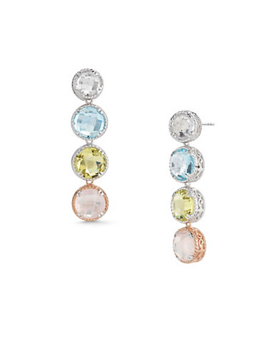 Delatori Crystal Topaz and Quartz Earrings-MULTI-One Size