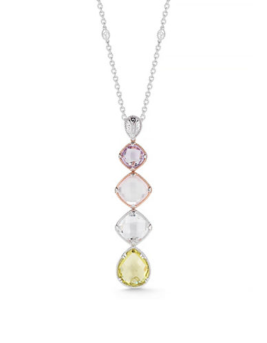 Delatori Sterling Silver with Quartz and Crystal Drop Necklace-PINK-One Size