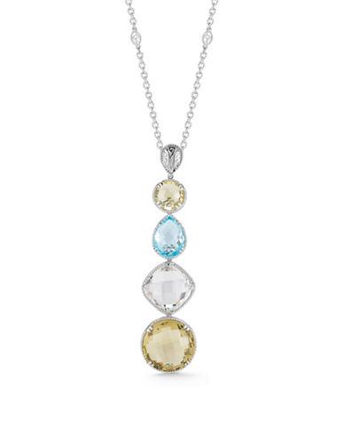 Delatori Sterling Silver with Lemon Quartz and Blue Topaz Drop Necklace-MULTI-One Size