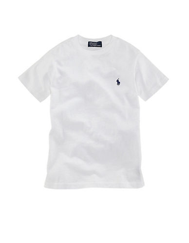Ralph Lauren Childrenswear Crewneck TShirt with Polo Player-WHITE-Small