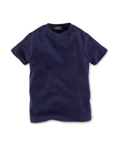 Ralph Lauren Childrenswear Crewneck TShirt with Polo Player-NAVY-Small