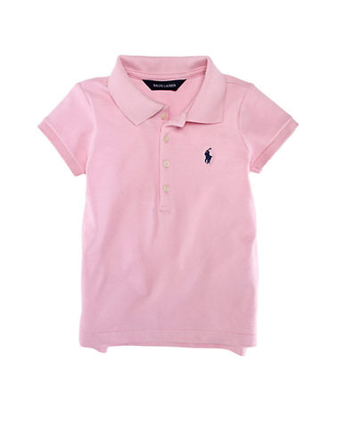 Ralph Lauren Childrenswear Short Sleeved Cotton Polo-CARMEL PINK-6X