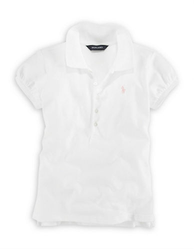 Ralph Lauren Childrenswear French Turquoise Short Sleeve Stretch Mesh Polo with Pony Player-WHITE-X-Large