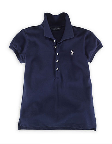 Ralph Lauren Childrenswear French Turquoise Short Sleeve Stretch Mesh Polo with Pony Player-NAVY-Medium