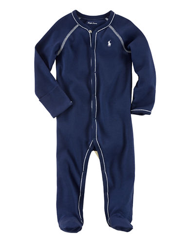 Ralph Lauren Childrenswear Long Sleeve Footed Coverall-NAVY-3 Months