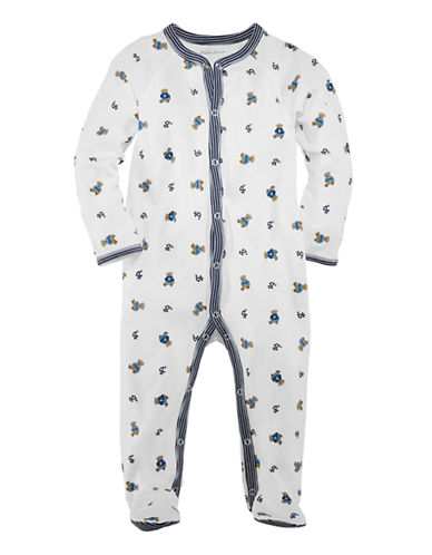 Ralph Lauren Childrenswear Bear Print Long Sleeve Footed Coverall-BLUE-3 Months