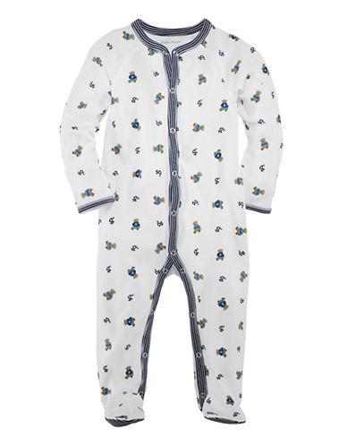 Ralph Lauren Childrenswear Bear Print Long Sleeve Footed Coverall-BLUE-9 Months