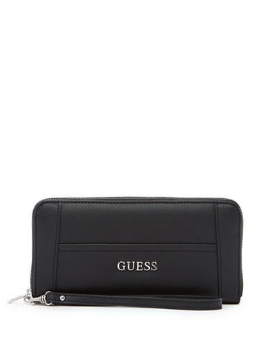 Guess Delaney Zip-Around Wristlet Wallet-BLACK-One Size