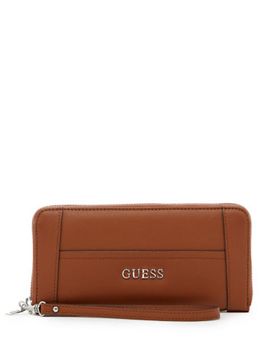 Guess Delaney Zip-Around Wristlet Wallet-COGNAC-One Size