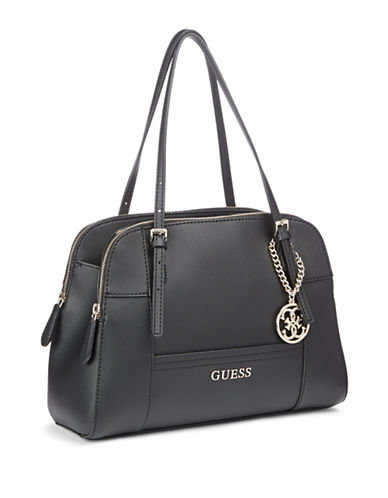Guess Huntley Cali Saffiano Satchel-BLACK-One Size