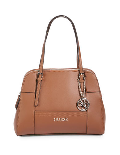 Guess Huntley Cali Saffiano Satchel-COGNAC-One Size