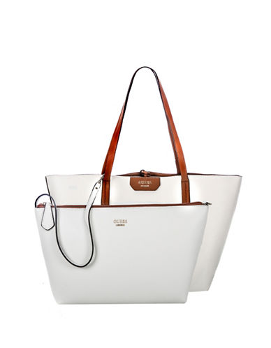 Guess Bobbi Inside-Out Tote Set-WHITE-One Size